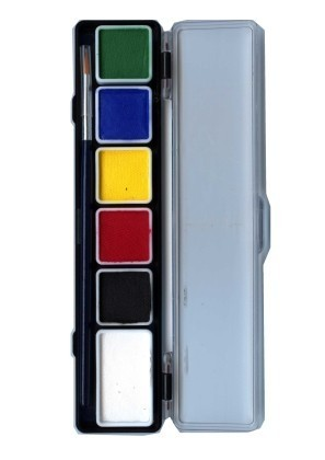 PXP 5 x 3 and 1 x 6 gram essential colours palet with a brush size 2
