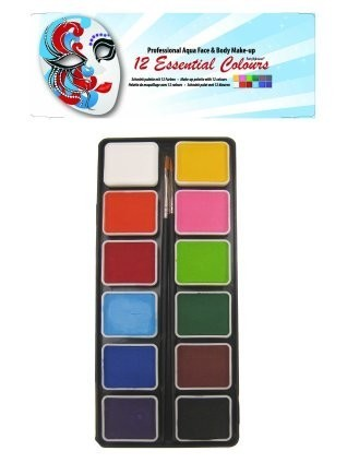 PXP 12 x 6 gram regular colours palet with 2 brushes size 2