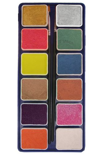 PXP 12 x 6 gr. metallic colours palet with 2 brushes size 2.