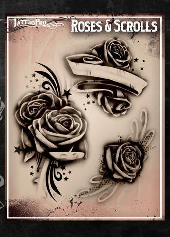 Tattoo Pro Stencils Roses and Scrolls