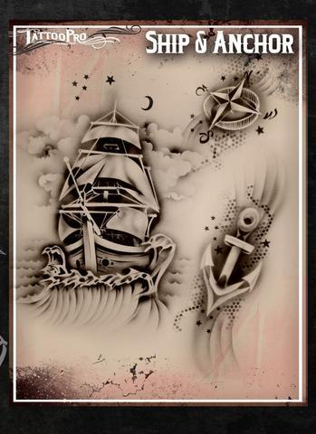 Tattoo Pro Stencils Ship & Anchor
