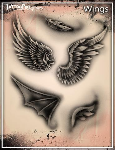 Tattoo Pro Stencils Wings