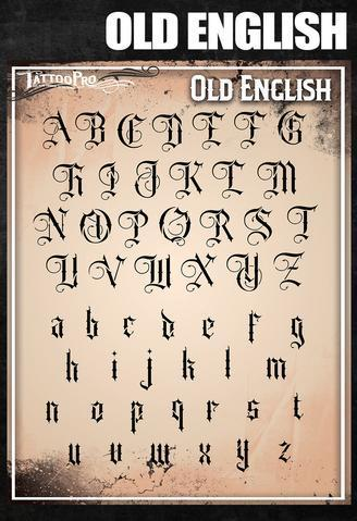 Tattoo Pro Stencils Old English Font/ Schrift