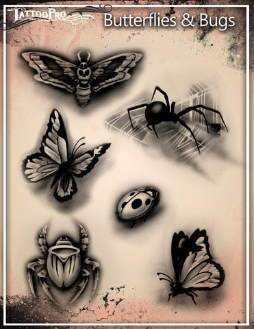 Tattoo Pro Stencils Butterflys & Bugs / Schmetterlinge & Käfer
